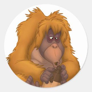 Corn-Jug-Playin' Orangutan Stickers