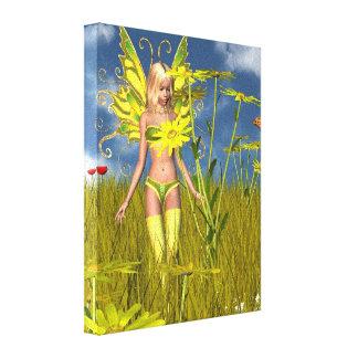Corn Marigold Fairy in a Summer Field Canvas Print