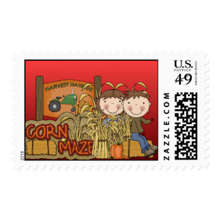 Corn Maze Autumn Postage Stamps
