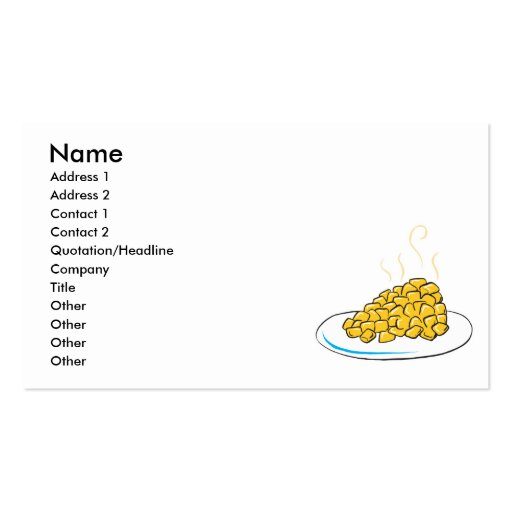 corn on a plate business card templates
