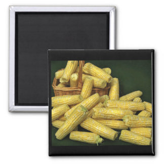 Corn on the Cob 2 Inch Square Magnet
