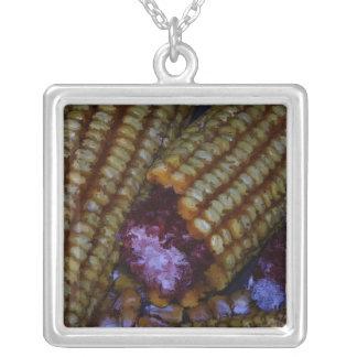 Corn on the Cob Art Square Pendant Necklace