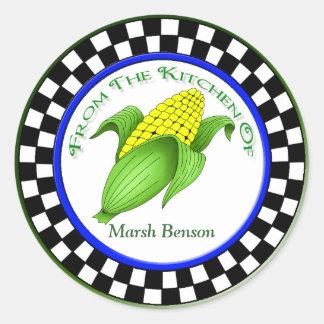 Corn On The Cob Checkerboard Kitchen Stickers