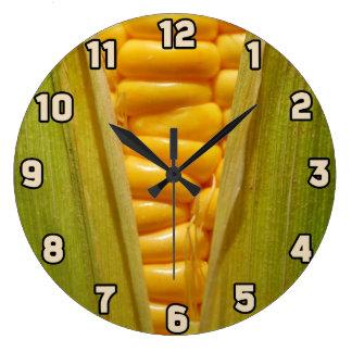Corn on the Cob Large Clock