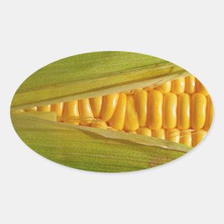 Corn on the Cob Oval Sticker