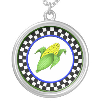 Corn On The Cob Round Checkerboard Necklace