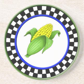 Corn On The Cob Round Sandstone Checkerboard Coast Coaster