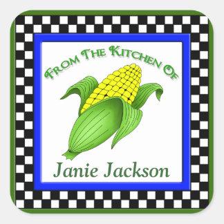 Corn On The Cob Square Checkerboard Kitchen Sticke Square Sticker