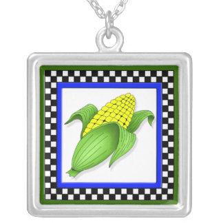 Corn On The Cob Square Checkerboard Necklace