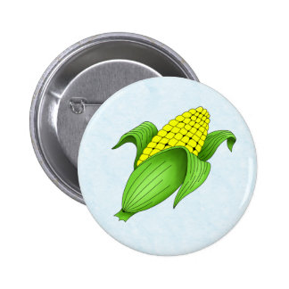 Corn On The Cob with Blue Bkgd Button