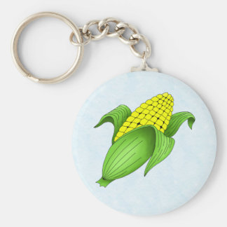 Corn On The Cob with Blue Bkgd Keychain
