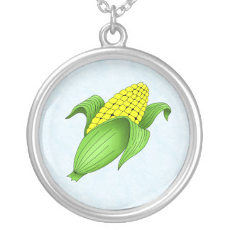 Corn On The Cob with Blue Bkgd Necklace
