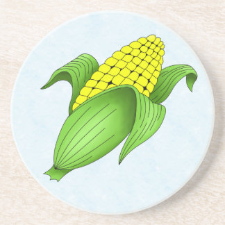 Corn On The Cob with Blue Bkgd Sandstone Coaster