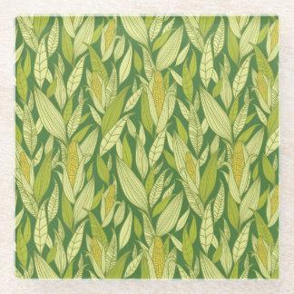 Corn plants pattern background glass coaster