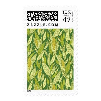 Corn plants pattern background postage