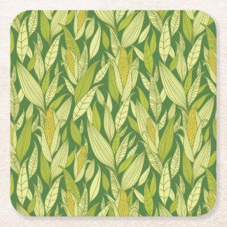 Corn plants pattern background square paper coaster