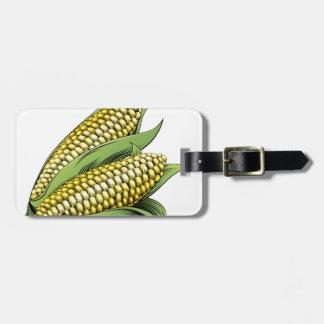 Corn vintage woodcut illustration travel bag tag