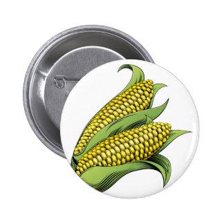 Corn vintage woodcut illustration pinback button