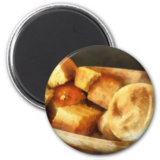 Cornbread and Rolls 2 Inch Round Magnet