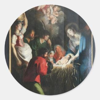 Cornelis de Vos- The Birth of Jesus Round Stickers