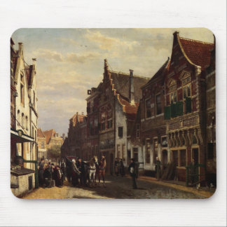 Cornelis Springer- Oudewater Street At Summer Mouse Pads
