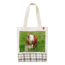 Cornelius the Cow from Dentonvillle Zazzle HEART Tote Bag