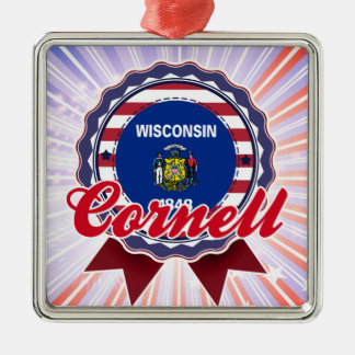 Cornell, WI Square Metal Christmas Ornament
