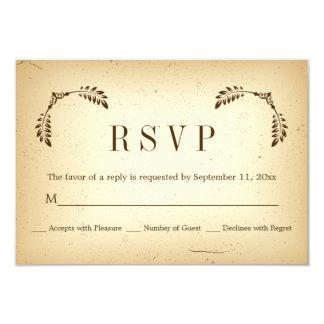 Corner brown leaves beige wedding RSVP reply card