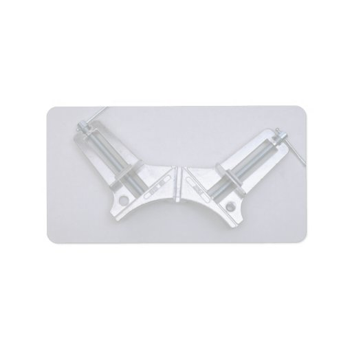 Corner clamps personalized address label
