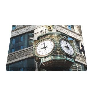 Corner Clock Downtown Chicago Canvas Print