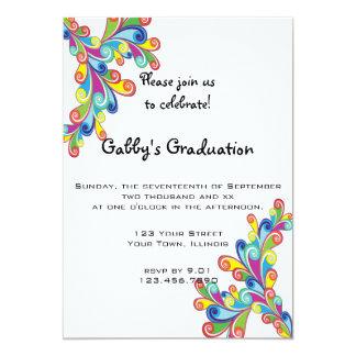 "Corner Curls Graduation Party Invitation 5"" X 7"" Invitation Card"