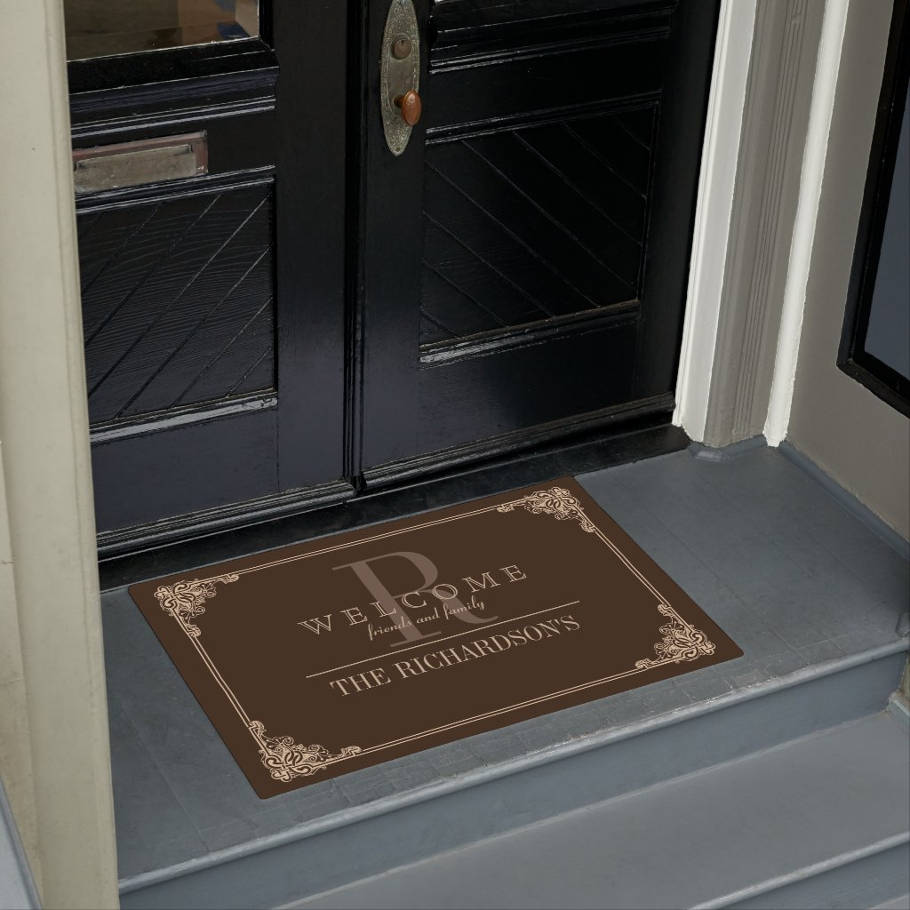 Corner Flourish Frame Custom Monogram Doormat