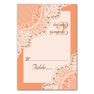 Corner lace with pearls coral wedding place card