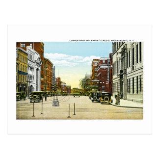 Corner Main and Market Streets, Poughskeepsie, NY Postcard