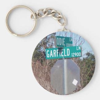 Corner of Garfield and Odie Basic Round Button Keychain