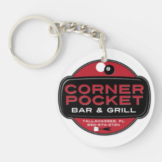 Corner Pocket Bar and Grille Single-Sided Round Acrylic Keychain