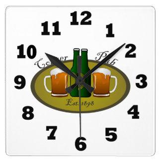 Corner Pub Beer Mugs and Bottles Clock
