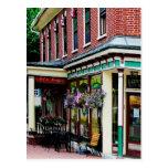 Corner Restaurant with Hanging Plants Postcard