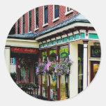Corner Restaurant with Hanging Plants Classic Round Sticker