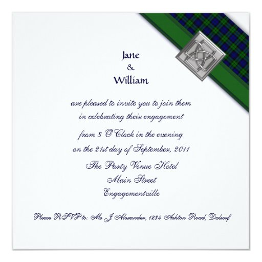 Corner Ribbon Black Watch Tartan Engagement Party 5.25x5.25 Square Paper Invitation Card