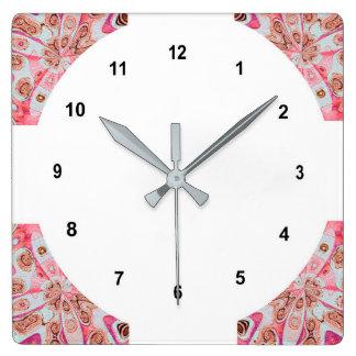 Corner Square Pink Pattern Clock. Square Wall Clock