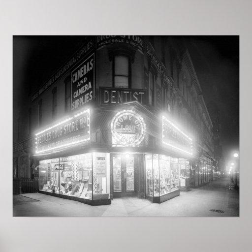Corner Store At Night, 1920. Vintage Photo Poster