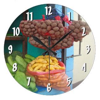 Corner Store in Peru Large Clock