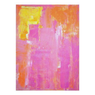 'Cornered' Pink and Orange Abstract Art Poster