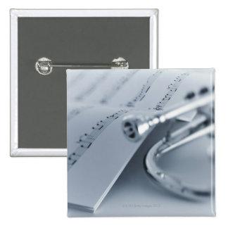 Cornet and Music Book Pinback Button