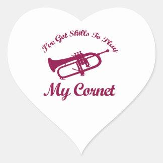 cornet musical designs heart sticker