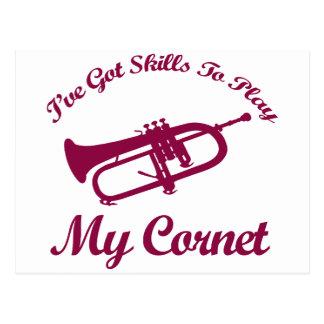 cornet musical designs postcard