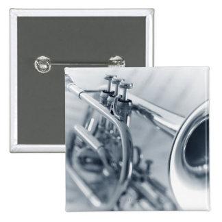 Cornet on Music Sheets Pinback Button