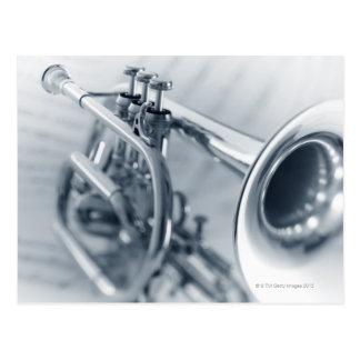 Cornet on Music Sheets Postcard