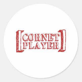Cornet Player Classic Round Sticker